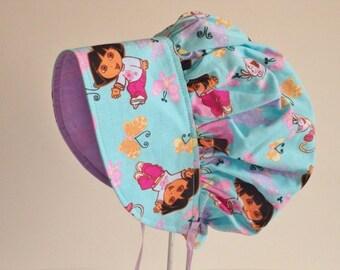 Dora Hat, Sun Bonnet, Girls Sun Hat, Pink Or Blue Dora Baby Bonnet, Toddler Bonnet, Girls Summer Bonnet, Girls Cotton Bonnet,  Made To Order