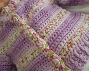 Handmade crochet baby cardigan age 3-6 months made in snowdonia Wales uk