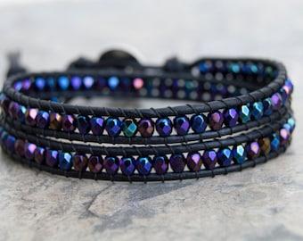 50% OFF Double Wrap Bracelet Natural Black Leather Elephant Button Leather Wrap Blue Iris Beads