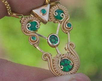 Capone // solid 14 kt. gold mini pendant // King Midas series // heady wire wrap // Tendai Designs // Grateful Dead // Valentines