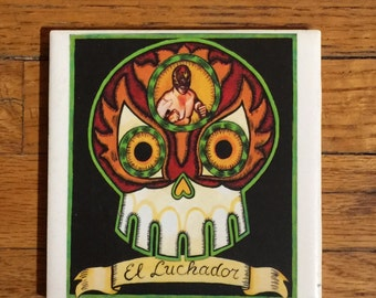 El Luchador (The Wrestler) Ceramic Tile Coaster -  Loteria and Day of the Dead skull Dia de los Muertos calavera designs