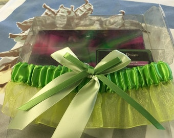 Vintage Bride Prom garter lime green with bow accent