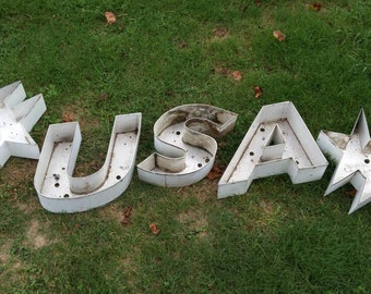 Industrial Metal Letters USA and Stars