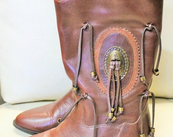 Vintage Brown Ding Dong Leather Boots with Embellishment