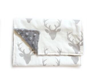 Oh Deer! Gray -  Baby Boy Burp Cloth Rag Gray minky
