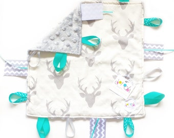 Oh Deer! Turquoise - Baby Boy Toy + tag lovey sensory blanket with gray minky