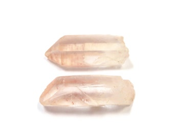 Pink Quartz Crystals 2 Raw Points 29mm x 11m - 12mm Natural Rough Stones for Jewelry Making (Lot 1064) Natural Mineral