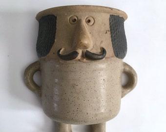 Vintage Stoneware Wall Pocket Mustache Man - Made in Japan - Wall Planter