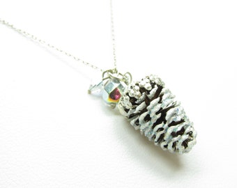 Snowy Pine Cone Necklace Real Winter Pinecone Charm on Sterling Silver Chain
