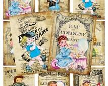 INSTANT DOWNLOAD, Vintage Paris Perfume Cards, Paris Perfume Labels, Retro little Girls, Digital Collage Sheet, Printable, Atc, Aceo Cards,