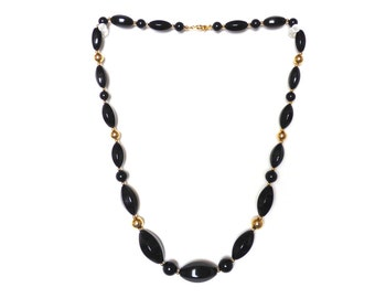 1980s Gold and Black Beaded Necklace Plastic Chunky
