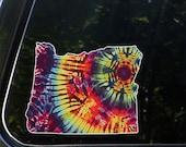 """CLR:CAR - State of Oregon Rainbow Tie Dye -  Vinyl Car Truck Decal © YYDCo. (6""""w x 4.75""""h)"""