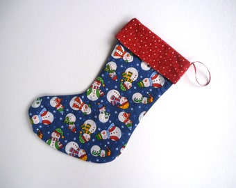 Red Christmas Stocking, Snowman Christmas Stocking, Red Stocking, Blue Stocking, Reversible Stocking
