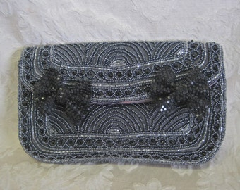Beaded Evening Bag 80s Clutch BOWS Black Grey Glass Beads Beaded GENIE Purse Sequin Appliques Vintage Altered One of a Kind Removable Clips
