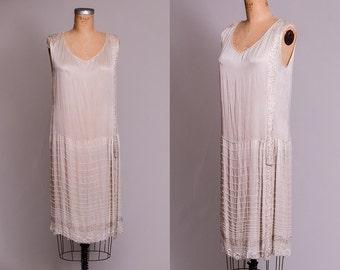 1920s Flapper Dress Hand Beaded Ivory Silk Gatsby Dress