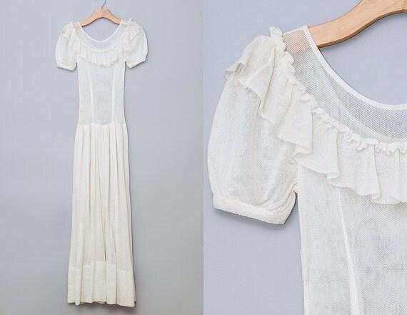 Cotton Wedding Gown: 1930s Knit Wedding Dress White Knit Cotton Ruffled Collar