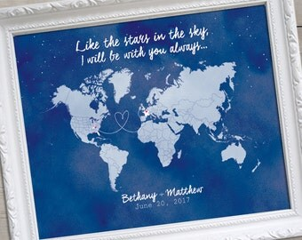 Watercolor World Map, Guest Book Map, Wedding Guest Book Alternative Map, Custom Wedding Gift, Custom World Map,