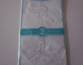 Vintage Hankies handkerchief lot 2 new in package white cotton embroidered