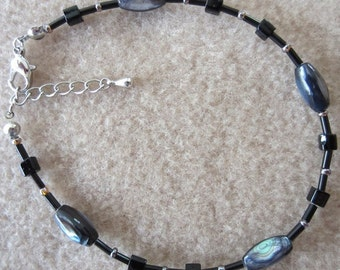 Handmade Abalone Shell, Tiger's Eye and Onyx Bead Anklet, Natural Shell, Beach Inspired, Simple Elegance, Fashion Jewelry, Ladies Gift, Cute