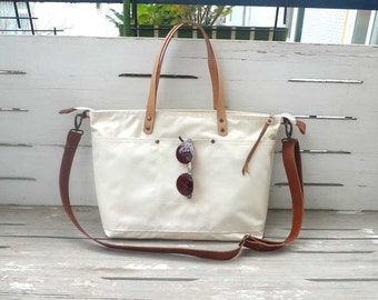Free Express Shipping - White Waterproof Waxed Canvas Shoulder bag / Tote Bag / Diaper Bag / Crossbody Bag / Canvas Travel bag