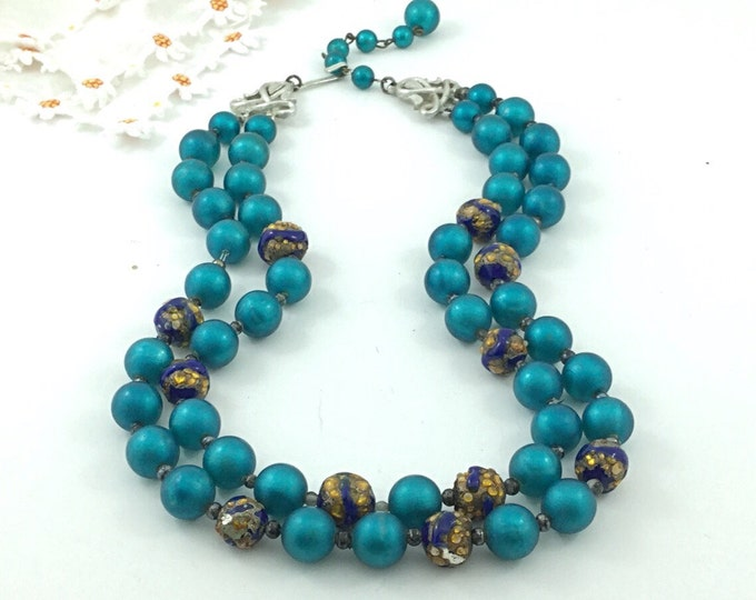 Bold Ocean Blue West Germany Necklace with Bohemian Lampwork Glass Beads. Vintage 3 Strand Necklace. Brilliant Blue Necklace. Teal.