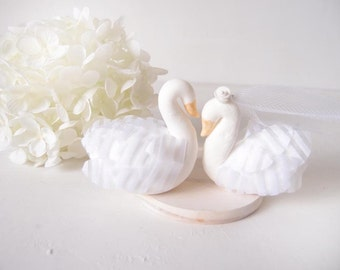Love Wedding Cake Toppers -Angel Swan with base