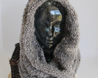 Chunky Knit Infinity Scarf - Hooded Cowl - Grey Multi-Christmas in July SALE - 20 % off until July 31st