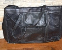 Vintage 90s Tannery West black genuine leather  organizer bag tote computer case made in Columbia Overnight Carry All On Travel College