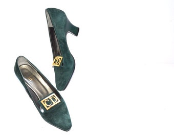 Vintage 70s Women desiner shoes heels size  US 5 1/2,EU 36 by Christian Dior Pumps, emerald green Summer Fashion suede leather  CD shoes