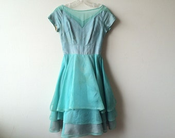 Vintage 1950's Teal Party Dress gown