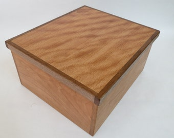 Wooden box from figured cherry, cherry and walnut