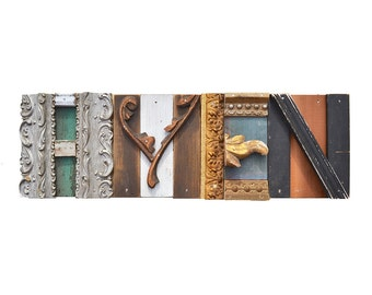 reclaimed wood, AMEN sign, architectural salvage, vintage sign letters, ORIGINAL ART by Elizabeth Rosen