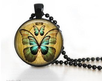 Vintage butterfly image pendant - butterfly pendant necklace.