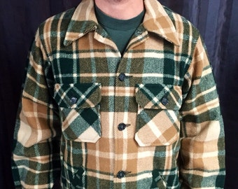 LL Bean green and brown flannel field jacket