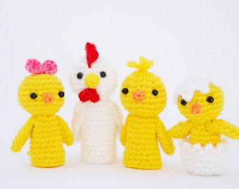 Amigurumi hen & chickens, crochet finger puppets, easter chicken family, crochet chickens, finger puppets, mom and baby chicks, easter gift
