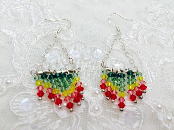 Swarovski Earrings, Rasta FLAG, Multicolor Crystals Size 3mm, Stamped .925, Hand made in the USA, Item No. S036