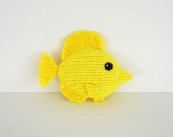 Yellow Tang Fish Crochet Pattern, Tang Fish Amigurumi Pattern, Yellow Tang Fish Amigurumi, Tropical Fish Pattern, Yellow Fish Amigurumi