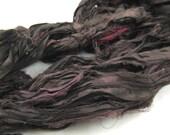 Reclaimed Silk Strips, Brown Sari Silk Ribbon, Fair Trade Sari Silk, Dyed Silk Strips, Silk Jewelery Ribbon, Upcycled Craft Ribbon, 4 yards