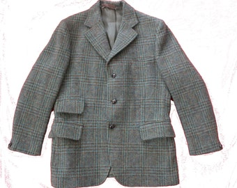 "Harris Tweed Wool Overcoat-Quality Vintage blazer-coat-jacket -unisex-mens medium 38"" Chest-collar - button-up - Scottish Isles cloth"