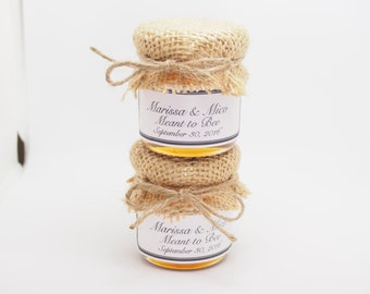25 Rustic Burlap Honey Jars, Honey Jar Favors With Labels, Custom Honey Wedding Favors, Country Rustic Honey Favors, Honey Favors