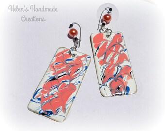 Beautiful coral pink ... statement earrings enamel jewelry