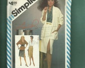 15% off Sale Vintage 1983 Simplicity 6326 Retro Shawl Collar Loose Fitting Jacket Raglan Sleeve Blouse & Mock Wrap Skirt Size 12 UNCUT