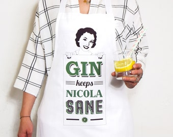 Personalised Gin Apron, Gin, Womens Apron, Funny Apron, Personalised Apron, Gin Gift, Personalised Gift, Best Friend Gift, Gin & Tonic