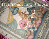 Bear Family At The Circus, Quilted Baby Crib Blanket, Quilt, Throw, with Satin Binding