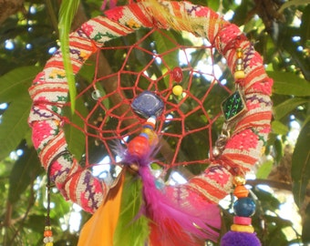 Tribal Dreamcatcher With Vintage Textiles and Magic