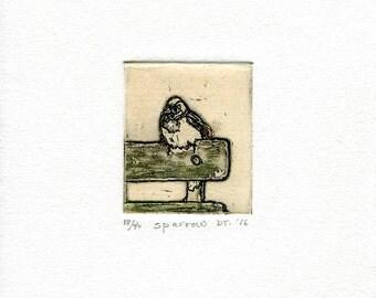 sparrow mini print etching