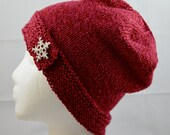 Wool Button Brim Hat, Red Hand Knit Beanie, Warm Winter Fashion, Womens Red Fashion Accessory, Valentines Gift for Her, Snowflake Rhinestone