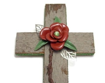 "Reclaimed Barnwood Decor, Handmade Wall Cross, Christian Home Decor, 7"" x 12"", Barnwood Cross, Western Decor, Barnwood Art, Gifts Under 25"
