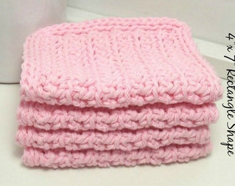 Pink Crochet Dishcloths - American Grown Cotton - Eco Friendly Kitchen - Handmade Set of 4