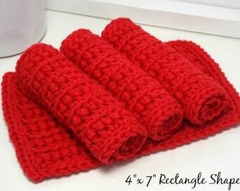 Crochet Dishcloth - Red 4 Inch x 7 Inch Rectangular Crochet Cotton Dish Cloths (Set of 4) Kitchen Housewarming Gift